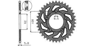 ocelová rozeta pre sekundárné reťaz e typu 520 SUNSTAR 43 zubů