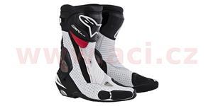 boty SMX Plus, ALPINESTARS - Itálie (černé/bílé/červené, perforovaná kůže, vel. 44)