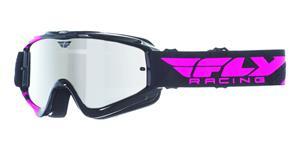 okuliare Zone RS FLY RACING čierne/rúžové zrcadlové plexi s čepy pre slídy