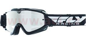 brýle Zone RS, FLY RACING - USA, dětské (černé/bílé, zrcadlové plexi s čepy pro slídy)