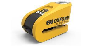 zámok kutúčovej brzdy Alpha Alarm XA14 OXFORD UK integrovaný alarm ŽLTÝ/čierny priemer čepu 14 mm
