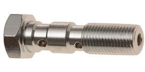 průtokový šroub dvojitý M10 x 1 mm (pochromovaná ocel)