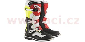 boty Tech 1, ALPINESTARS - Itálie (bílé/černé/žluté fluo/červené, vel. 45,5)