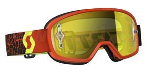 okuliare BUZZ MX SCOTT DETSKÉ čierne/fluo žlté žlté plexi s čepy na slídy