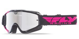 brýle Zone RS, FLY RACING - USA dětské (černé/růžové, zrcadlové plexi s čepy pro slídy)
