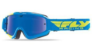 brýle Zone RS, FLY RACING - USA dětské (modré/žluté fluo, zrcadlové/modré plexi s čepy pro slídy)