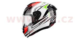 přilba Hurricane Racing, VEMAR - Itálie (bílá/černá/červená/zelená, vel. XS)