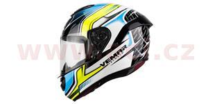 přilba Hurricane Racing, VEMAR - Itálie (bílá/černá/žlutá/světle modrá, vel. XS)