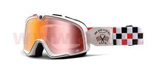 custom okuliare Barstow OSFA 100% biela červené chrom plexi