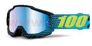 okuliare Accuri R-Core 100% čierna modré chrom + čiré plexi s čepy pre slídy