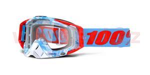 okuliare Racecraft Bobora 100% biela/modrá čiré plexi s čepy pre slídy + 20 strhávaček
