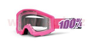 brýle Strata Bubble Gum, 100% - USA (růžová , čiré plexi s čepy pro slídy)
