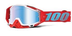 okuliare Racecraft Kepler 100% biela/červená modré chrom plexi s čepy pre slídy + Chránič nosu + 20 strhávaček