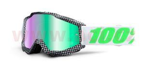okuliare Accuri Newsworthy 100% čierna/biela zelené chrom + čiré plexi s čepy pre slídy
