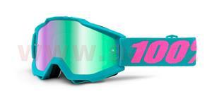 brýle Accuri Passion, 100% - USA (zelená , modré chrom + čiré plexi s čepy pro slídy)