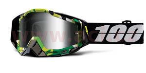 okuliare Racecraft Bootcamp 100% střírbné chrom + čiré plexi + Chránič nosu + 20 strhávaček