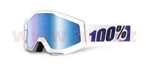 brýle Strata Ice Age, 100% - USA (bílá , modré chrom plexi s čepy pro slídy)