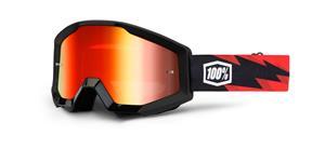 brýle Strata Slash, 100% - USA (černá , červené chrom plexi s čepy pro slídy)