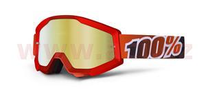 brýle Strata Fire Red, 100% - USA (černá , červené chrom plexi s čepy pro slídy)