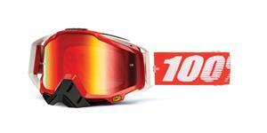 brýle Racecraft Fire Red, 100% - USA (červené chrom plexi + čiré plexi + chránič nosu +20 strhávaček)