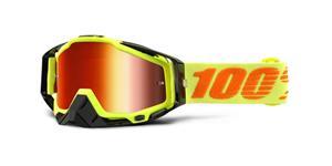brýle Racecraft Attack Yellow, 100% - USA (červené chrom plexi + čiré plexi + chránič nosu +20 strhávaček)