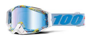 brýle Racecraft Hyperloop, 100% - USA (modré chrom plexi + čiré plexi + chránič nosu +20 strhávaček)