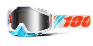 brýle Racecraft Calculus Ice, 100% - USA (stříbrné chrom plexi + čiré plexi + chránič nosu +20 strhávaček)
