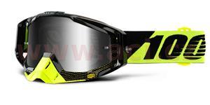 brýle Racecraft Cox, 100% - USA (stříbrné chrom plexi + čiré plexi + chránič nosu +20 strhávaček)