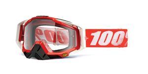 brýle Racecraft Fire Red, 100% - USA (čiré plexi + chránič nosu +20 strhávaček)