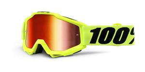 okuliare Accuri Fluo Yellow 100% žltá červené chrom + čiré plexi s čepy pre slídy