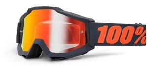 okuliare Accuri Matte Gunmetal 100% čierna červené chrom + čiré plexi s čepy pre slídy