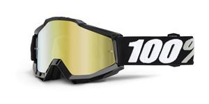 brýle Accuri Tornado, 100% - USA (černá , zlaté chrom + čiré plexi s čepy pro slídy)