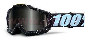okuliare Accuri Milkyway 100% čierna/biela stieborné chrom + čiré plexi s čepy pre slídy