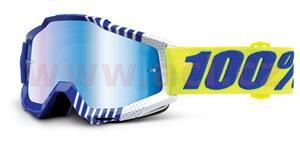 brýle Accuri Sundance, 100% - USA (modrá/bílá , modré chrom + čiré plexi s čepy pro slídy)
