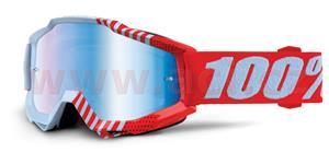 okuliare Accuri Cupcoy 100% červená/biela modré chrom + čiré plexi s čepy pre slídy