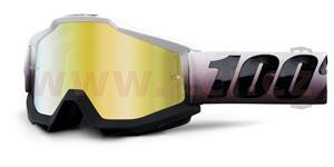 brýle Accuri Invaders, 100% - USA (bílá/černá , zlaté chrom + čiré plexi s čepy pro slídy)