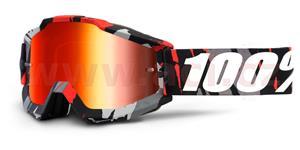 brýle Accuri Magemo, 100% - USA (šedá/červená , červené chrom + čiré plexi s čepy pro slídy)