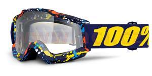 brýle Accuri Pollok, 100% - USA (modrá , čiré plexi s čepy pro slídy)