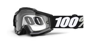 brýle Accuri ENDURO Tornado, 100% -USA (černá , čiré dual plexi s čepy pro slídy)