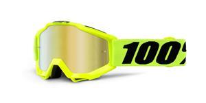 brýle Accuri JR Fluo Yellow, 100% -USA dětské (žlutá , červené chrom plexi s čepy pro slídy)
