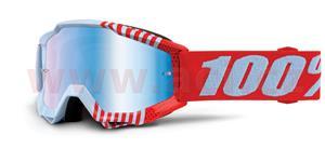 okuliare Accuri JR Cupcoy 100% - DETSKÉ biela/červená modré chrom plexi s čepy pre slídy