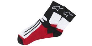 ponožky krátké RACING ROAD Socks COOLMAX® ALPINESTARS čierne biele červené vel. L XL