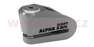 zámok kutúčovej brzdy Alpha Alarm XA14 OXFORD UK integrovaný alarm broušený kov priemer čepu 14 mm