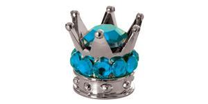 kovové čiapočky ventilkov Crown OXFORD UK strieborná/modrá pár