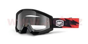 brýle Strata Slash, 100% - USA (černá , čiré plexi s čepy pro slídy)