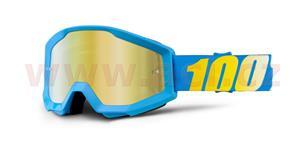 brýle Strata Cyan, 100% - USA (modrá , zlaté chrom plexi s čepy pro slídy)