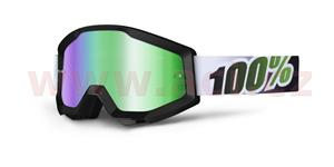 brýle Strata Black/Line, 100% - USA (černá , zelené chrom plexi s čepy pro slídy)
