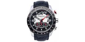 hodinky TECH CHRONO STEEL ALPINESTARS  broušený nerez/čierna/červená pryžový Opasok