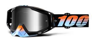 okuliare Racecraft Starlight 100% stieborné chrom plexi + čiré plexi + Chránič nosu +20 strhávaček