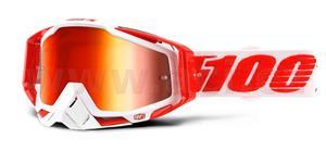 okuliare Racecraft Bilal 100% červené chrom plexi + čiré plexi + Chránič nosu +20 strhávaček